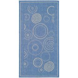 Safavieh Ocean Swirls Blue/ Natural Indoor/ Outdoor Rug (2' x 3'7)