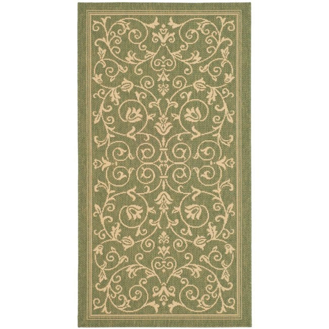 Safavieh Resorts Scrollwork Olive Green/ Natural Indoor/ Outdoor Rug (2' x 3'7)