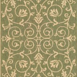 Safavieh Resorts Scrollwork Olive Green/ Natural Indoor/ Outdoor Rug (2' x 3'7) - Thumbnail 2