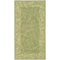Safavieh Oasis Scrollwork Olive Green/ Natural Indoor/ Outdoor Rug - 2' x 3'7
