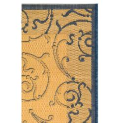 "Safavieh Oasis Scrollwork Natural/ Blue Indoor/ Outdoor Rug (2' x 3'7"") - Thumbnail 1"