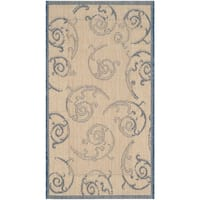 Safavieh Oasis Scrollwork Natural/ Blue Indoor/ Outdoor Rug - 2' x 3'-7""