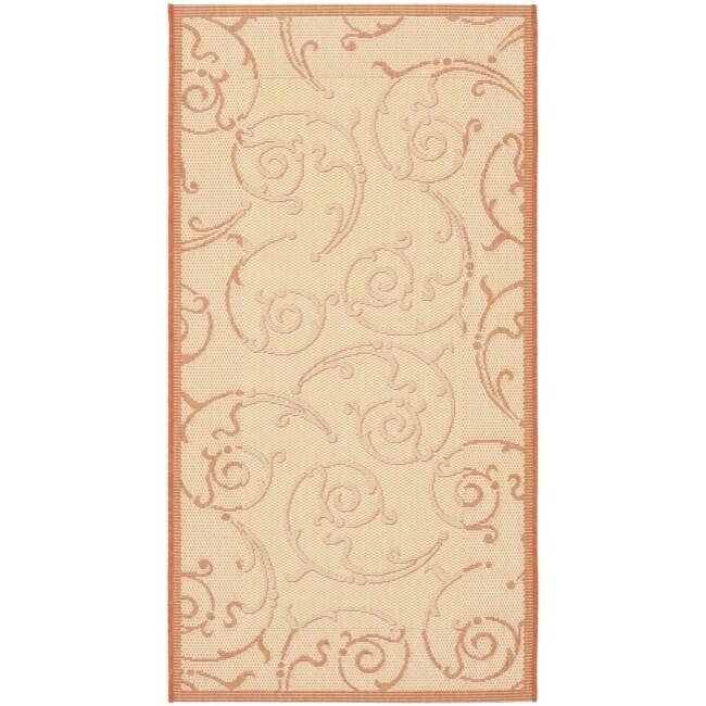 """Safavieh Oasis Scrollwork Natural/ Terracotta Indoor/ Outdoor Rug (2' x 3'7"""")"""