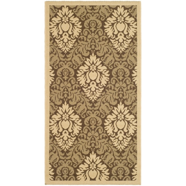 Safavieh St. Barts Damask Brown/ Natural Indoor/ Outdoor Rug - 2' x 3'7