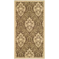 Safavieh St. Barts Damask Brown/ Natural Indoor/ Outdoor Rug - 2' x 3'7 - Thumbnail 0