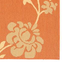 Safavieh Courtyard Floral Terracotta/ Natural Indoor/ Outdoor Rug (4' x 5'7) - Thumbnail 1
