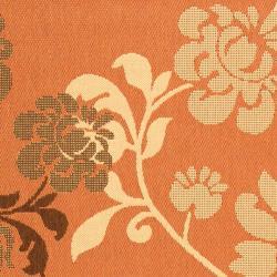 Safavieh Courtyard Floral Terracotta/ Natural Indoor/ Outdoor Rug (4' x 5'7) - Thumbnail 2