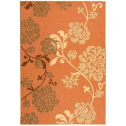 Safavieh Courtyard Floral Terracotta/ Natural Indoor/ Outdoor Rug - 4' x 5'7 - Thumbnail 0