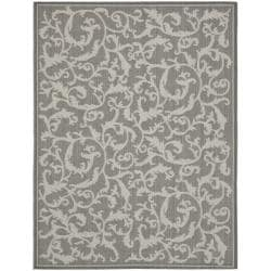 Safavieh Courtyard Scrolling Vines Anthracite/ Light Grey Indoor/ Outdoor Rug (5'3 x 7'7)