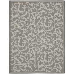 Safavieh Courtyard Scrolling Vines Anthracite/ Light Grey Indoor/ Outdoor Rug (6'7 x 9'6)