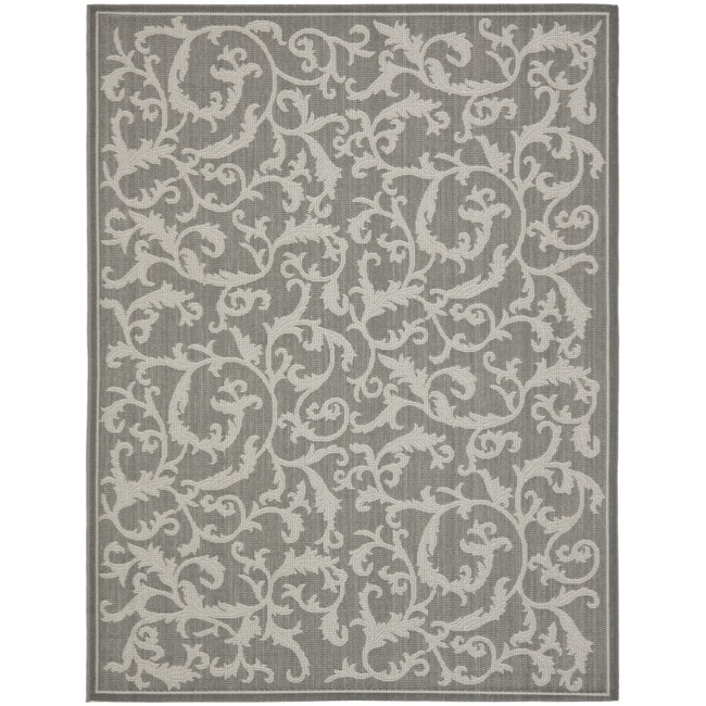 Safavieh Courtyard Scrolling Vines Anthracite/ Light Grey Indoor/ Outdoor Rug (8' x 11'2)