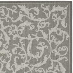 Safavieh Courtyard Scrolling Vines Anthracite/ Light Grey Indoor/ Outdoor Rug (8' x 11'2) - Thumbnail 1