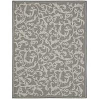 Safavieh Courtyard Scrolling Vines Anthracite/ Light Grey Indoor/ Outdoor Rug - 8' x 11'2