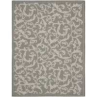 Safavieh Courtyard Scrolling Vines Anthracite/ Light Grey Indoor/ Outdoor Rug - 8' X 11'