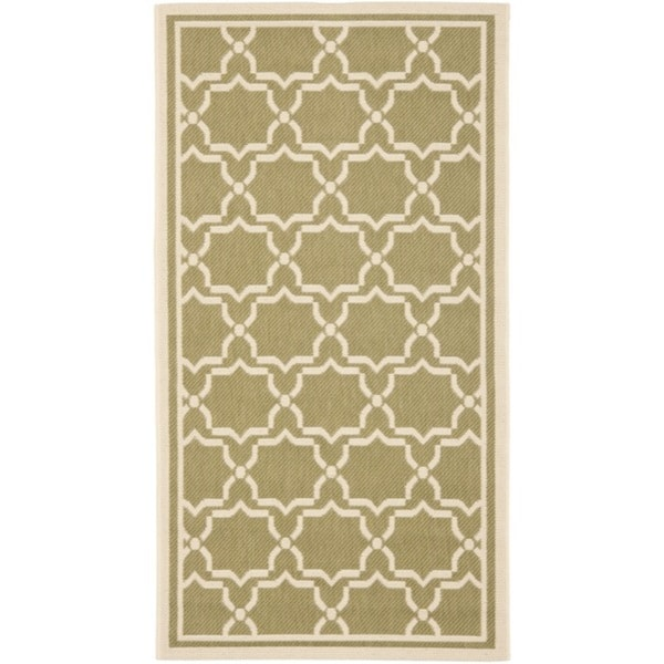 Safavieh Courtyard Poolside Green/ Beige Indoor/ Outdoor Rug (4' x 5'7)