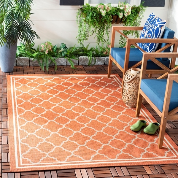 "Safavieh Courtyard Kailani Terracotta/ Bone Indoor/ Outdoor Rug - 6'7"" x 6'7"" Square"