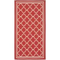 Safavieh Indoor/ Outdoor Poolside Red/ Bone Accent Rug - 2' x 3'7