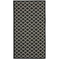 Safavieh Poolside Black/ Beige Indoor Outdoor Rug (2' x 3'7)