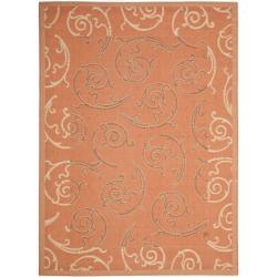Safavieh Poolside Terracotta/ Cream Indoor/ Outdoor Polypropylene Rug (6'7 x 9'6)