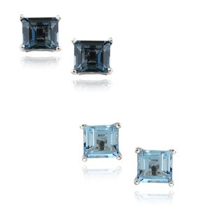 Glitzy Rocks Silver Blue Topaz 6-mm Square Stud Earrings (2.6ct TGW)