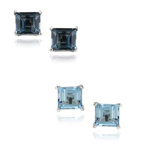 Glitzy Rocks Silver Blue Topaz 6-mm Square Stud Earrings (2.6ct TGW)