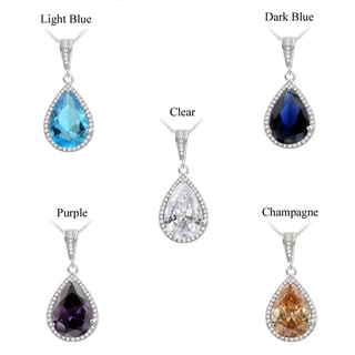 Link to Icz Stonez Silvertone Cubic Zirconia Pear Shape Necklace (10 1/5ct TGW) Similar Items in Necklaces
