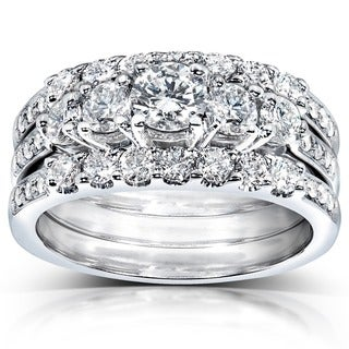 Annello 14k White Gold 1 1/3ct TDW Diamond 3-piece Bridal Ring Set