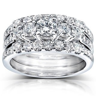 Annello 14k White Gold 1 1/3ct TDW Diamond 3-piece Bridal Ring Set (H-I, I1-I2)
