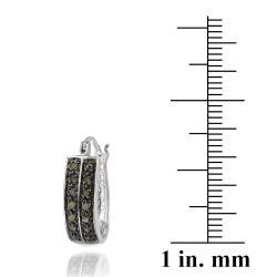 DB Designs Sterling Silver 1/4ct TDW Brown Diamond 2-row Hoop Earrings - Thumbnail 2