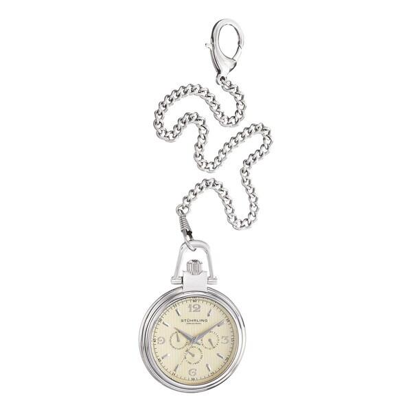 Stuhrling Original Men's Quartz  Monarch Nouveau Stainless Steel Pocket Watch