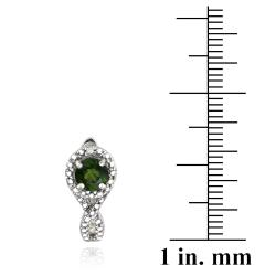 Glitzy Rocks Sterling Silver Chrome Diopside and Diamond Accent Earrings - Thumbnail 2