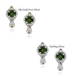 Glitzy Rocks Sterling Silver Chrome Diopside and Diamond Accent Earrings