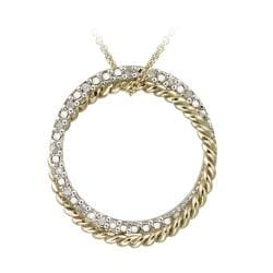 DB Designs Gold over Silver 1/8ct TDW White Diamond Circle Necklace