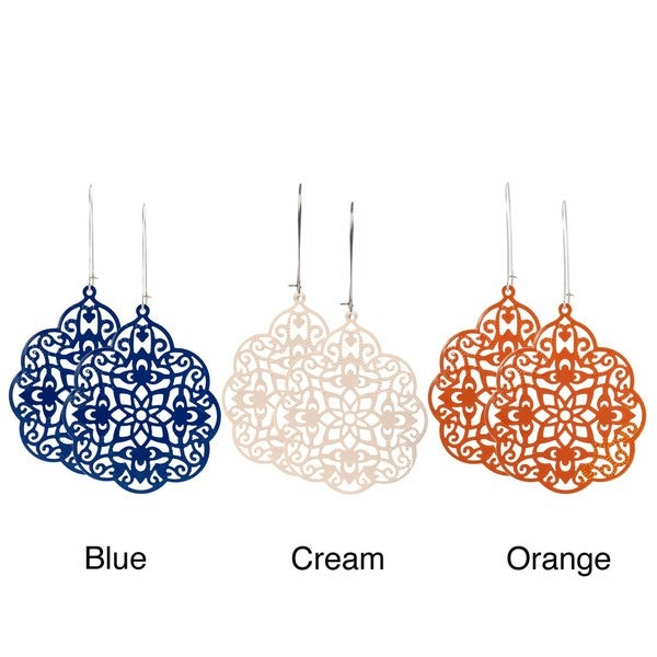 Journee Collection Silvertone Vintage Lace-style Bohemian Earrings