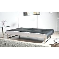 Seattle Black and White Futon Sofa Bed - Thumbnail 2