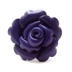 Handmade Purple Petals Genuine Leather Blooming Rose Free Size Ring (Thailand)