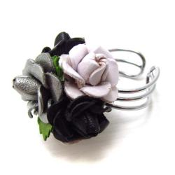 Black/Silver/White Floral Bouquet Genuine Leather Free Rize Ring (Thailand)