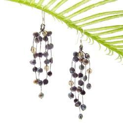 Striking Waterfall Freshwater Black Pearl .925 Silver Hooks Earrings (Thailand)