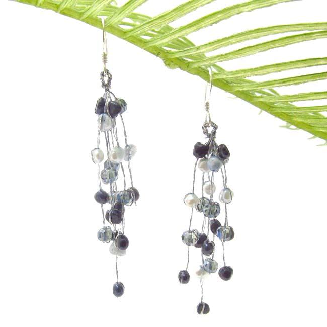 Handmade Striking Waterfall Freshwater Dyed Blue Pearl .925 Silver Hooks Earrings (Thailand)