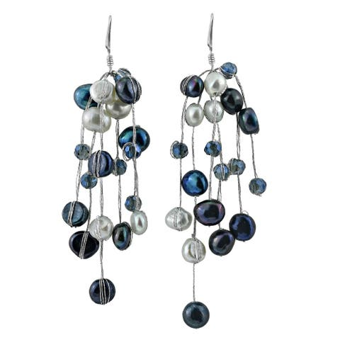 Handmade Cascading Iridescence Colored Blue Pearl and Crystal Bead Dangle Earrings (Thailand)
