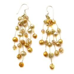 Handmade Striking Waterfall Freshwater Dyed Pearl .925 Silver Hooks Earrings (Thailand) - Thumbnail 1