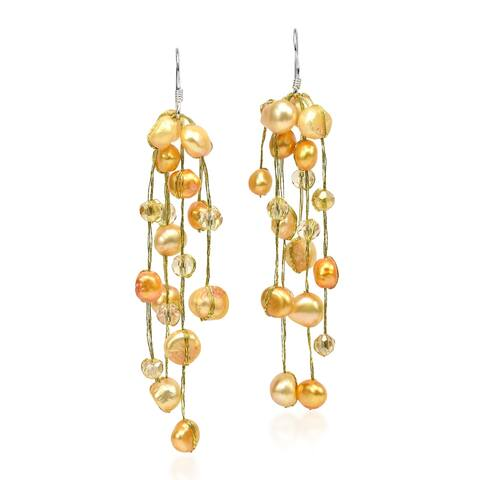 Handmade Striking Waterfall Freshwater Dyed Pearl .925 Silver Hooks Earrings (Thailand)