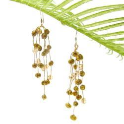 Handmade Striking Waterfall Freshwater Dyed Green Pearl .925 Silver Hooks Earrings (Thailand)