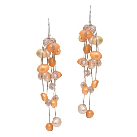 Handmade Cascading Iridescence Colored Orange Pearl and Crystal Bead Dangle Earrings (Thailand)