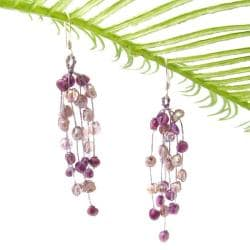 Striking Waterfall Freshwater Dyed Purple Pearl .925 Silver Hooks Earrings (Thailand)