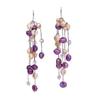 Handmade Striking Waterfall Freshwater Dyed Purple Pearl .925 Silver Hooks Earrings (Thailand)
