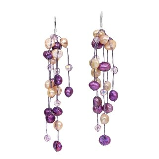 Handmade Striking Waterfall Freshwater Dyed Purple Pearl .925 Silver Hooks Earrings (Thailand)