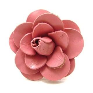 Handmade Elegant Blooming Pink Rose Genuine Leather Statement Ring (Thailand)