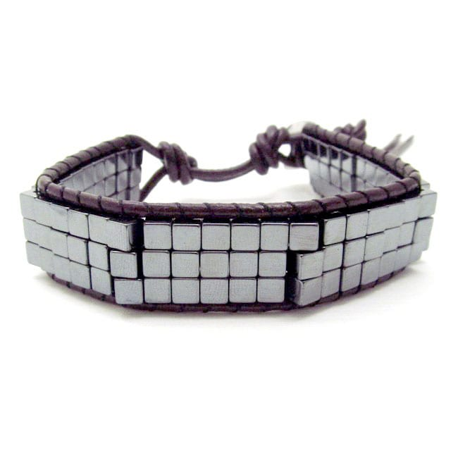 Cubic Charmer Hematite Beads Leather Double Sided Bracelet (Thailand)