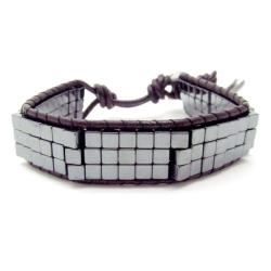 Handmade Cubic Charmer Hematite Beads Leather Double Sided Bracelet (Thailand)